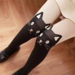 [พร้อมส่ง] L7037 เลกกิ้งเนื้อถุงเท้ากันหนาว แบบเต็มตัว ทอลายหน้าแมว Big Face Cat Legging