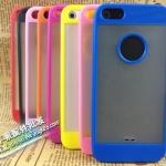 case iphone 5 เคสไอโฟน5 เคสโปร่งแสงตัดขอบสีโชว์โลโก้กันลื่น Two-color sets iPhone5 tide TPU shell phone