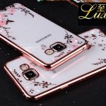 Case Samsung A7 2016 ซิลิโคน TPU โปร่งใสขอบเงาลายดอกไม้แสนหวาน ราคาถูก