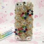 case iphone 5 เคสไอโฟน5 เคสประดับดอกไม้เพชรสีและเพชรเม็ดใหญ่ สวยๆ color diamond lights