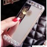 เคสไอโฟน 6 Plus เคสซิลิโคนนิ่ม ขอบใส มีแผ่นเงาเหลือบเงิน-ทอง ใช้ส่องเป็นกระจกเงาได้ ประดับเพชรเล็ก-ใหญ่ ฟรุ้งฟริ้ง สวย ดีงามมาก