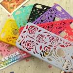 case iphone 5 เคสไอโฟน5 เคสลายฉลุลายดอกกุหลาบโชว์โลโก้ Hollow rose