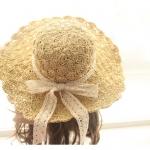 [พร้อมส่ง] H3547 หมวกสานโครเชต์ แบบปีกกว้าง ใบโต บังแดด ตกแต่งด้วยริบบิ้นลูกไม้ เพิ่มความหวาน