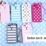 เคส iphone 6 plus 5.5 นิ้ว ซิลิโคน 3 มิติ การ์ตูนหมี กระต่าย ลาย Polka Dot น่ารักมากๆ ราคาส่ง ราคาถูก