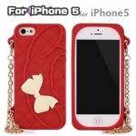 case iphone 5 เคสไอโฟน5 เคสซิลิโคนกระเป๋าถือ Kitty คิตตี้ Mymelody มีสายทองสวยๆ น่ารักสุดๆ