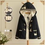 [Pre order] MM3881 เสื้อโค้ทกันหนาว แขนยาว บุขนฟูนุ่มด้านใน ปักลายแมว สไตล์นักเรียนญี่ปุ่น Japan High School กระดุมคล้องไม้ มีหมวกฮู๊ดงานน่ารักๆ สำหรับสวมกันหนาว