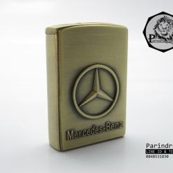 ไฟแช็ค ไฟฟู่ ไฟแรงกันลมพัดไม่ดับ ลาย เบนซ์ Mercedez Benz ทองเหลือง