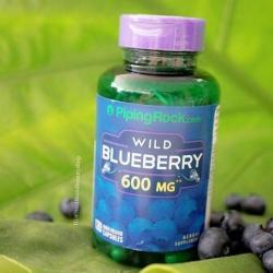 # สวยพร้อมสุขภาพ # Piping Rock Wild Blueberry Fruit, 600 mg, 120 Capsules