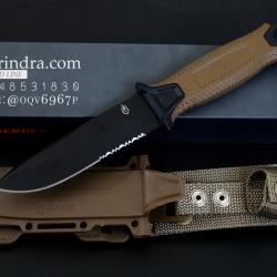 มีดใบตาย Gerber Strong Arm Semi serrated Fixed Blade OEM สีน้ำตาล ขนาด 10 นิ้ว หล่อสุดๆ A++