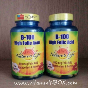Nature's Life, B-100, High Folic Acid, 100 Capsules