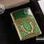 """ไฟแช็ค Zippo แท้ """"Zippo 29243, Horseshoe & Clovers Emblem, Brushed Brass Finish """" แท้นำเข้า 100% thumbnail 6"""