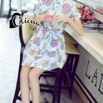 [พร้อมส่ง] เสื้อผ้าแฟชั่นเกาหลี Mini Dress สีฟ้าอ่อน แต่งลายดอกทานตะวันดูน่ารัก ทรงคอปก แขนสั้นพับปลายแขน กระดุมหน้า