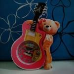 นาฬิกา หมีกีต้าร์ สีชมพู
