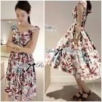 Lady Mariam Sweet Elegant Tropical Midi Dress มิดี้เดรส เดรสยาวพิมพ์ลายทรอปิคอล