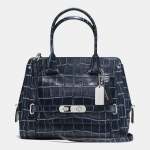 Preorder COACH Swagger Frame Clutch Satchel in Denim Croc-Embossed Leather Style No: 37183