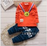 เสื้อ+กางเกง สีส้ม แพ็ค 4ชุด ไซส์ (เหมาะสำหรับ0-4ขวบ)