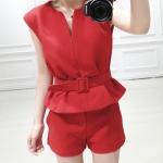 พร้อมส่งเซตจั้มสูทไซด์ใหญ่สีแดงเสื้อแขนกุดกางเกงเอวยืด+เข็มขัด-2XL(35-37)