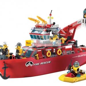 ดับเพลิง (Fire fight) E-909. ตัวต่อเลโก้จีน เรือดับเพลิงใหญ่