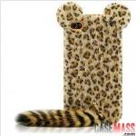 case iphone 4s 4 เคสตุ๊กตาขนๆ ลายแมวป่าเสือดาว มีหางยาวๆ หูกลมๆ สวยๆ น่ารักๆ