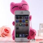 case iphone 5 เคสไอโฟน5 เคสตุ๊กตาน้องแมวน่ารักๆ มีตุ๊กตาตัวเล็กห้อยสามารถเอาไว้เช็ดหน้าจอได้ด้วย สุดฮิต ยอดนิยม มาแรง Korean iphone 5 shell plush 3D wagging tail cat