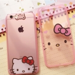 เคส iPhone 6s Plus / 6 Plus (5.5 นิ้ว) ซิลิโคน TPU สีชมพูโปร่งใสลายน่ารักแสนหวาน ราคาถูก