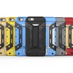เคส iPhone 6s Plus / 6 Plus (5.5 นิ้ว) เคสกันกระแทกแยกประกอบ 2 ชิ้น ด้านในเป็นซิลิโคนสีดำ ด้านนอกพลาสติกเคลือบเงาโลหะเมทัลลิค มีขาตั้งสามารถตั้งได้ สวยมากๆ เท่สุดๆ ราคาถูก