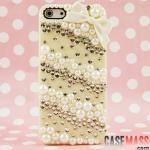 case iphone 5 เคสไอโฟน5 ประดับเพชรและมุกติดโบว์เล็ก สวยๆน่ารักๆแนวคุณหนู pearl diamond paste bow