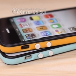 case iphone 5 เคสไอโฟน5 ขอบเคส Bumper บางๆ เรียวๆ 2สีตัดกันสวยๆ มีปุ่มกดสีขาวน่ารักๆThe new color love Apple iphone 5-color border Bumper protective