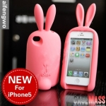 case iphone 5 เคสไอโฟน5 เคสซิลิโคนทรงตัวกระต่ายตั้งได้มีหูมีหางกลมๆ สวยๆ น่ารักๆ cute rabbit 3D Silicone Case