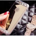 เคสไอโฟน 5s / 5 เคสซิลิโคนนิ่ม ขอบใส มีแผ่นเงาเหลือบเงิน-ทอง ใช้ส่องเป็นกระจกเงาได้ ประดับเพชรเล็ก-ใหญ่ ฟรุ้งฟริ้ง สวย ดีงามมาก