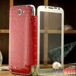 เคส Note 2 Case Samsung Galaxy Note 2 II N7100 เคสฝาพับข้าง ส่วนฝาพับปิดเป็นกระจกใส พับปิดแล้วสามารถเห็นหน้าจอได้ ส่วนขอบเป็นอลูมิเนียมน้ำหนักเบา ตัวเคสแบบเปลี่ยนฝาหลัง เป็นหนังจระเข้ บางสวยหรู crocodile pattern leather metal mirror
