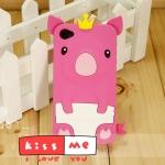 case iphone 4s 4 เคสซิลิโคน 3D หมูน้อยน่ารักๆ สวมมงกุฎ มีหางด้วย น่ารักสุดๆ South Korean new Crown Piggy Apple iPhone4 4S shell phone dimensional cartoon silicone case protective sleeve