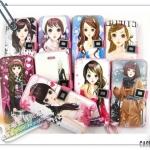 case iphone 5 เคสไอโฟน5 เคสกระเป๋าหนังฝาพับข้าง ลายการ์ตูนผู้หญิงญี่ปุ่นตาโตน่ารักๆแบ๊วๆ สวยมากๆ The pretty girls iPhone5 holster