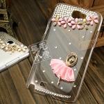 เคส Note 2 Case Samsung Galaxy Note 2 II N7100 เคสใสประดับด้วยดอกไม้ เพชรคริสตัล นักเต้นบัลเล่ย์ สวยงาม หรูหรา สวยสุดๆ Ballet girl diamond shell mobile phone