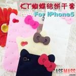 case iphone 5 เคสไอโฟน5 เคสซิลิโคนคิตตี้ขนมปังกรอบ น่ารักมากๆ 3D Silicone Hello Kitty bow biscuits iPhone5