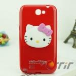 Case Samsung Galaxy Note 2 Hello Kitty ซิลิโคน 3D น่ารักๆ หัวโตๆ เคสมือถือราคาถูกขายปลีกขายส่ง