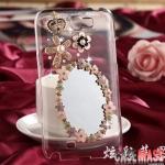 case Note 2 เคส Samsung Galaxy Note 2 เคสกระจกเงาประดับเพชร ดอกไม้ มงกุฎ หรูๆ สวยๆ