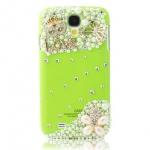 เคสซัมซุง S4 Case Samsung Galaxy S4 i9500 เคสพื้นเขียวประดับเพชรคริสตัวและมุก ติดผีเสื้อ หน้ากากและดอกไม้ สวยๆสุดๆ
